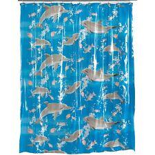 """Dolphins Deep Sea Fish Blue Vinyl Bath Shower Curtain Bathroom Decor 72x72"""""""
