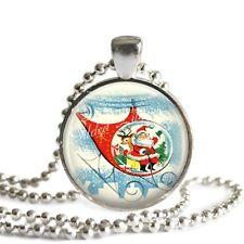 Vintage Christmas Santa Claus Glass Bezel Setting Altered Art Pendant Necklace
