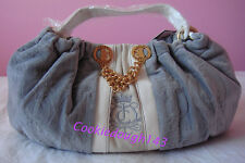 NEW w/ TAG $213 AUTH JUICY COUTURE GREY VELOUR LEATHER DAYDREAMER BAG HANDBAG