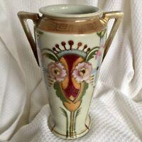 "Art Deco Japan Nippon Vase with handles 7"" high"