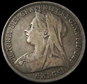 1894 SILVER GREAT BRITAIN CROWN QUEEN VICTORIA 3RD PORTRAIT COIN KM# 783