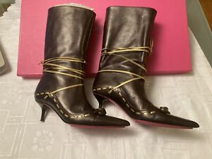 Emanuel Ungaro Leather Brown Tall Boots Size 9 Pre-owned Women's