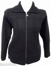 Womens Size 16 - 26 New Black Zip Cardigan Knitted Jacket Ladies  *LICK