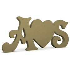 """Initials and Heart (solid) 8"""" (20cm) 18mm MDF Wood Letters Victorian"""