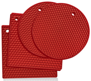 Heat Resistant Hot Pan Stand  Silicon Kitchen Trivet Mat Worktop Protector Red
