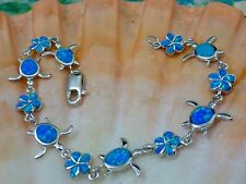 BEAUTIFUL STERLING SILVER BLUE FIRE OPAL SEA TURTLE & OPAL FLOWER LINK BRACELET