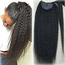 Full Shine Clip In Hair One Piece Kinky Straight Natural Black Ponytail 100g