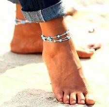 Beaded Beach Foot Jewellery Bohemian Uk Triple 3 Chain Ankle Bracelet Turquoise