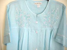 Miss Elaine Turquoise Striped Seersucker Short Sleeve Snap Front Robe Pockets L