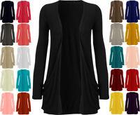 Womens Jersey Plain Drop Pocket Long Sleeve Open Cardigan Ladies Basic Top 8-22