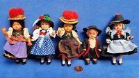 KONVOLUT ALTE PUPPEN BABY DOLL VINTAGE 7 - 10 CM PUPPENHAUS PUPPENSTUBE TRACHTEN