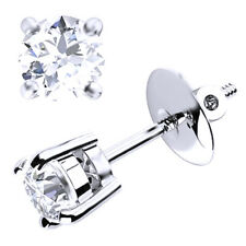 Beautiful Diamond Claw Set Earrings With Screw Back, 18k White gold 0.40 ct