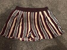 Brand New Ladies Shorts Burgundy Stripe Size 12 H&M