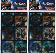 2 NEW packs The AVENGERS Lenticular 3D Stickers Captain America Iron Man