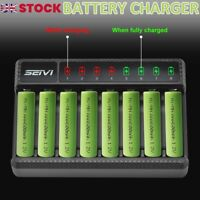 8 Slot Smart Battery Charger LED Display for AA/AAA NiMH Rechargeable Batteries