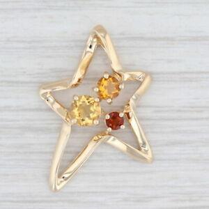 0.70ctw Citrine Star Pendant 14k Yellow Gold Red Orange Yellow Gemstones