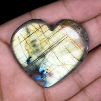 156.80 Cts Top Quality Natural Labradorite Heart Flashy Untreated Gem 48mm/42mm