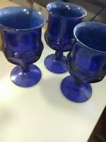 3 Indiana Glass Cobalt Blue Thumbprint Goblets