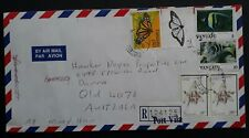 1991 Vanuatu Airmail Registered Cover ties 5 stamps cancelled Vila to Australia