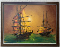 Vintage Mid Century Modern Brutalist Abstract 1960 Boat Ship Painting Art