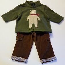 Boys MUD PIE brown pants GYMBOREE green bear fleece jacket 6-12 months outfit