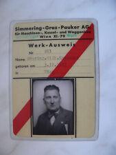 WERK-AUSWEIS Simmering-Graz-Pauker AG.-Obering.W.K--1942!