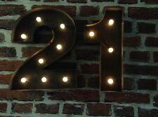 LED CARNIVAL 21ST  BIRTHDAY CELEBRATION NUMBERS  METAL LARGE 33 CM.