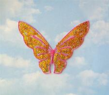 Iron On Pink Butterfly Applique With Gold Sequins - Patch - IR4