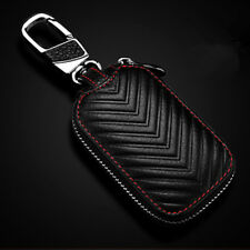 New Black Leather Car Remote Bag Auto Fob Key Holder Case Unisex Zipper Pouch