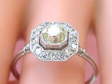 ART DECO .71ct CUSHION OLD MINE YELLOW DIAMOND HALO PLATINUM ENGAGEMENT RING