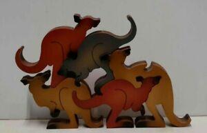 Woodcut 5-piece Kangaroo Puzzle Decoration