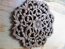 Thai Vintage Carved Wood Wall Decor Panel Flowers Wood Wall Art Brown 10""