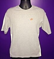 Men's Nike t- shirt gray and white With Orange Nike Logo Size Small (S)