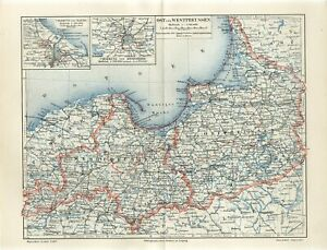 1906 GERMANY EAST & WEST PRUSSIA DANZIG KONIGSBERG now POLAND RUSSIA Map dated