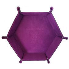 Galactic Toys PU Leather Hexagonal Folding Dice Tray w/ Violet Velvet Interior