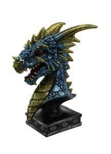 Dragon Head On Stand Blue 8X6X11.5cm