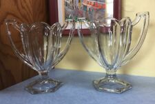 """Set of 2 Indiana Glass Chippendale Quadruped Clear Sundae cups 8"""" tall 1908"""