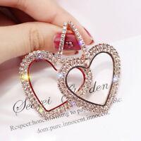 Fashion Luxury Heart Earrings Women Crystal Geometric Hoop Earring Jewelry Gift&