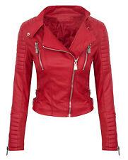 Designer Women'S Biker Jacket Leather look Between season Faux S-XL D-276 NEW
