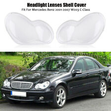 Pair Headlight Headlamp Lens Cover  For Mercedes Benz C-Class W203 2001-2007