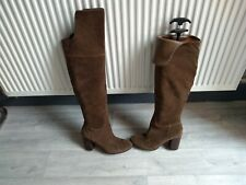 Schutz  Leather Suede Over Knee Heel  Boots Light Brown Size 5/38 Ladies Womens