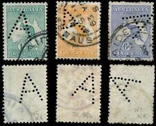 Australia 1914 KangaROOS un PERFIN Adelaide... 4D + 6D + 1 / -.. chiuso un