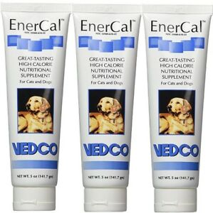 EnerCal High Calorie Nutritional Pet Supplement For Cats & Dogs 3 Tubes 5oz Each