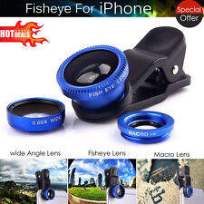3 en 1 Universel HQ Blue Fish eye Grand Angle Macro Clip Lens Kit for iPhone iPad