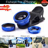 3 in 1 Universal HQ Blue Fish Eye Wide Angle Macro Clip Lens Kit For iPhone iPad