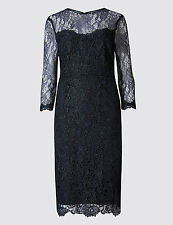 Marks and Spencer Lace 3/4 Sleeve Bodycon Dress Navy Size UK 18 LF076 BB 20