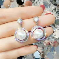 Gorgeous 925 Silver Drop Earrings for Women White Pearl Jewelry A Pair/set GIFT