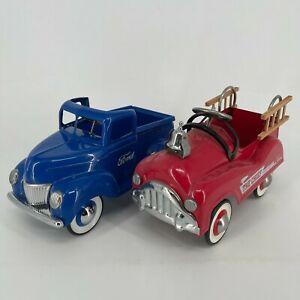 Lot of 2 - 1940's Replica Metal Ford F-1 Pickup Truck & The Chief Fire Truck