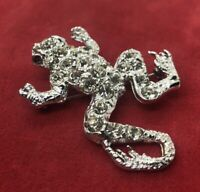 Vintage Brooch Pin Silver Tone Frog Rhinestone Animal