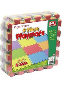 Playmats 9 Piece MultiColoured Foam Interlocking Soft Playmat  Indoor Outdoor